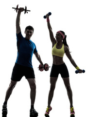 Wall Mural - woman exercising fitness workout with man coach