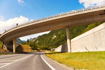 Highway Bridge Beneath the Summer Sky