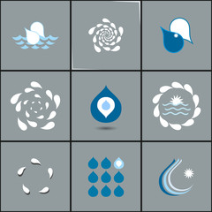 drops with whirlpools icon set