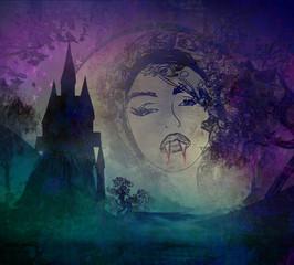 beautiful vampire girl on halloween background