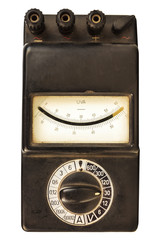 Vintage black volt meter isolated on white