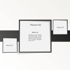 3D picture frame design vector