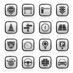 Road and Traffic Icons - vector icon set