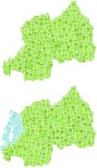 Map of Rwanda in a mosaic of green squares