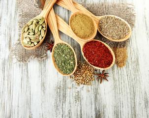 Foto auf AluDibond Gewürze 2 Assortment of spices in wooden spoons on wooden background
