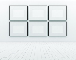blank posters in white room