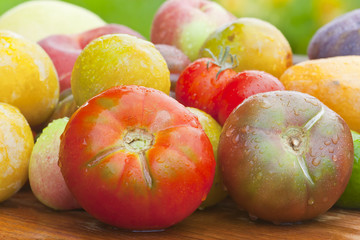 Beef tomatoes and other healthy fruits and vegetables