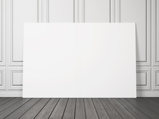 white decorative wall with blank posters