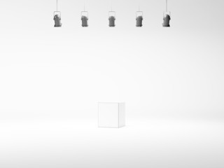 spotlight background with lamps and white cube