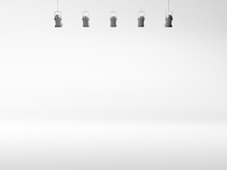 white spotlight background with lamps