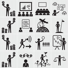 Human resource, business and management icon set