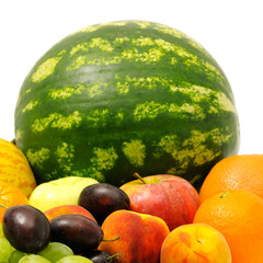 fresh fruits on white