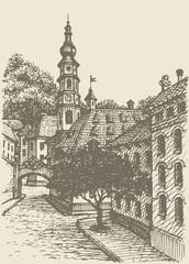 Vector cityscape. Street of an old European town