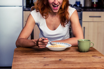 Woman is excited about her breakfast