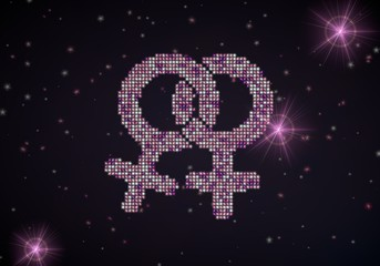 3d render of a lesbian homosexual symbol of glamour stars