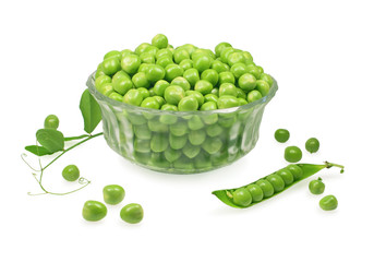 green peas in a glass, isolated on white