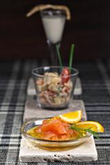 Vorspeisen-Buffet, Kartoffelsalat, Graved Lachs, Selleriesuppe