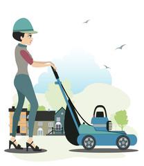 Women use the mower.