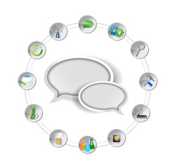 message bubble and tools settings illustration