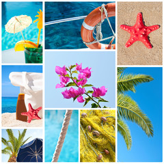 Collage of summer beach images - Holidays concept