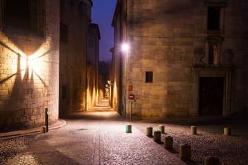 old narrow street of european city.  Girona