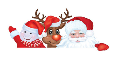 Vector Santa Claus, Rudolph and snowman.