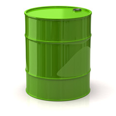 Green oil barrel isolated on white background