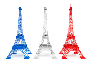Three Eiffel towers in French flag colors