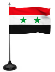 Flag of Syria with flagpole