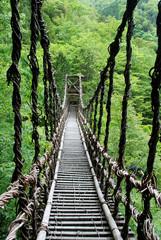 Pont de lianes Kazura-bashi à Oku Iya, Shikoku, Japon