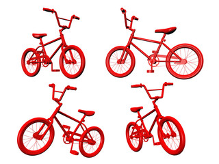 Red Bicycles on white background