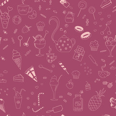 Sweet seamless pattern with various elements for tea