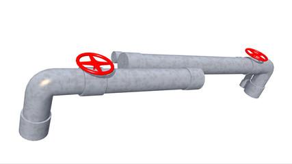 Rohre und Ventile auf weißem Hintergrund