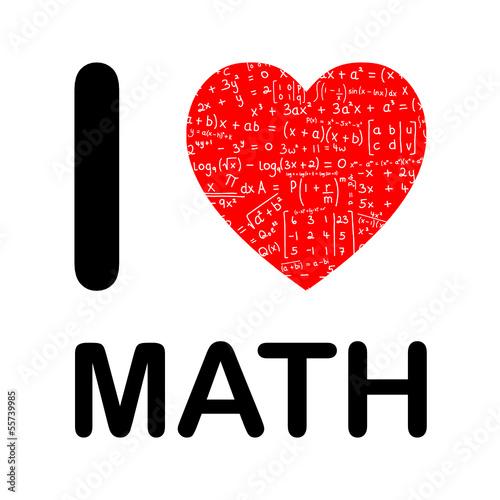 I Love Math Maths Mathematics Science Equations Heart Symbols