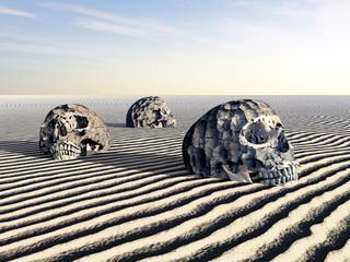 Menschliche Schädel im Wüstensand