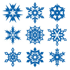 Set of snowflakes isolated on white