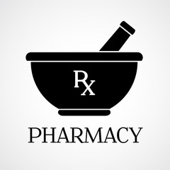 Vector pharmacy symbol - mortar and pestle