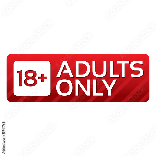 Adults only content button. Vector red sticker.