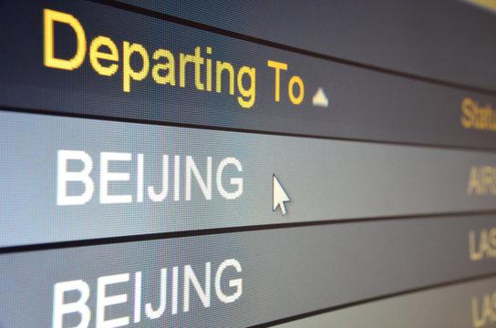 Flight departing to Beijing
