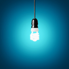 Idea concept with bulb on blue background.