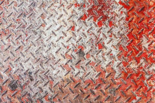 Red and white diamond pattern metal sheet