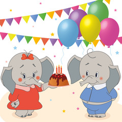 Vector birthday party card with funny elephant
