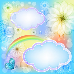 Bright background with flowers and butterflies