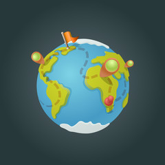 World map globe cartoon fun vector. Funny game style