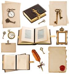 antique clock, key, postcard, photo album, feather pen