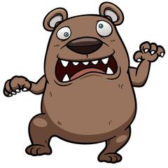 Vector illustration of cartoon angry bear