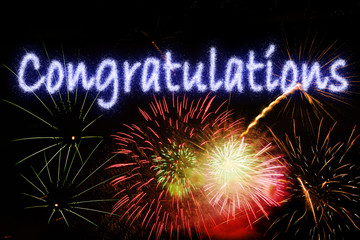 Congratulations Word With Fireworks