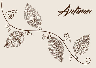Autumn text with vintage leaves curly branch background. EPS10 f