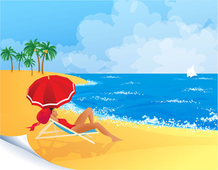 Woman relaxing on a tropical beach. Vector.