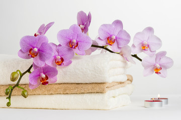 Health spa and flower orchid. Spa treatment - relax with candles